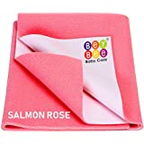 BeyBee Waterproof Baby Bed Protector Dry Sheet for Born Babies (Large (140cm X 100 cm), Salmon Rose)