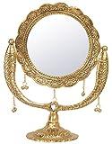 HOUZZPLUS White Metal Table Mirror (33 cm x 2 cm x 40 cm, Gold)