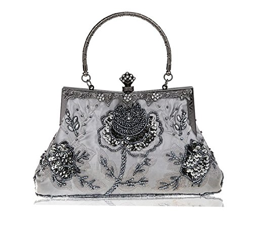 Heyjewels Vintage Handmade Damentasche Beaded Perlen Clutchtasche Glitzer Blumen Abendtasche Grau - Vintage Perlen Handtasche