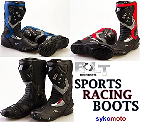 MOTORBIKE BOLT S12 RX2 ADULT SPORTS BOOTS Motorcycle Mens Waterproof Biker Protection Slider Racing Touring Armour Boots (RED, UK 8 / EU 42)