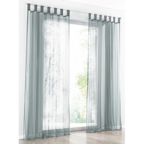 Preisvergleich Produktbild 1er-Pack Gardine mit Schlaufen Vorhänge Transparent Voile Vorhang (BxH 140x225cm, hell grau)