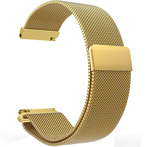 Replacement 22mm Metal Milanese Loop Watch Bands Straps for Pebble Time/Time Steel,Samsung Gear S3 Classic Frontier,LG G Watch,ASUS ZenWatch,Moto 360 2 (46mm) Smartwatch (Loop Golden) (Pebble Steel Metal Watch Band)