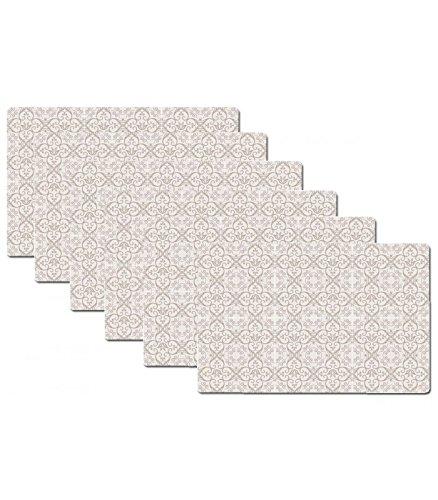 Set de Table Design Carreaux de Ciment Beige en Vinyle - Set de 6