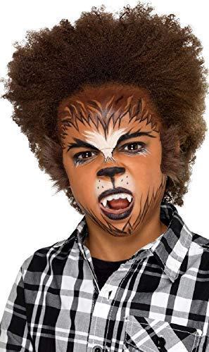 Mädchen Jungen Werwolf Halloween Make-Up-Bemalung Spezial Effekte mit Applikatoren Kostüm Kleid Outfit Satz