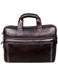 HYATT 15.6 Inch Pure Leather Brown Laptop Bag For Men And Women Unisex HL99 (Brown)