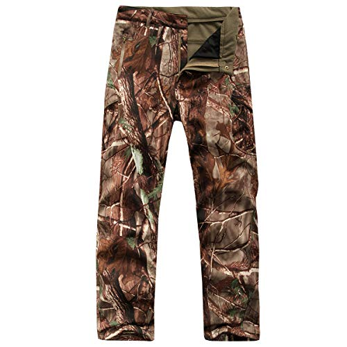 CARWORNIC Herren Tactical Outdoor Jagd Jacke Wasserdicht Softshell Fleece Camouflage Jacken, Herren, Tree Camo Pants, US 34W (Tag XL) (Camo Mantel Männer Winter)