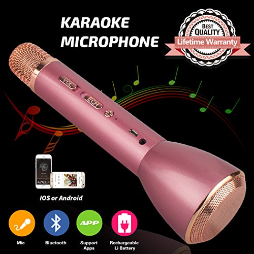 Tragbares Mikrofon Bluetooth Drahtloses, Karaoke Mikrofon Bluetooth Lautsprecher, Mikrofon Lautsprecher Kinder, Wireless Microphone Karaoke Mic für Smartphones IOS iPhone, iPod, iPad, Android Party (Bluetooth-lautsprecher-mikrofon)