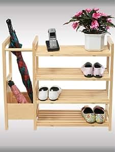 Étagère à chaussures 4 niveaux avec porte-parapluies bois de pin