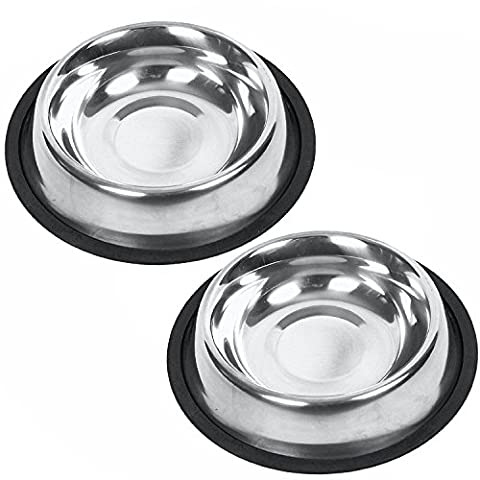 Oniel - Dog Bowls With Rubber Base Non-Skid - Stainless Steel - 2 Piece Set - 8 Oz