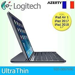 Logitech Étui à Clipser Ultra Fin aimanté pour Apple iPad Air 1, 2017 & ‿2018 Clavier Français AZERTY Noir