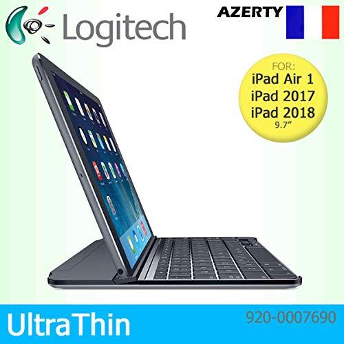Logitech UltraThin Magnetische Clip-On Bluetooth Abdeckung für Apple iPad Air 1, 2017 & 2018 - AZERTY Französisches Tastaturlayout - Schwarz (32 Generation Ipad 1.)