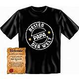 perfekte Vatertag Geschenk T-Shirt + Urkunde: Bester Papa der Welt - lustiges witziges Herren Funshirt Shirt Geburtstag Idee