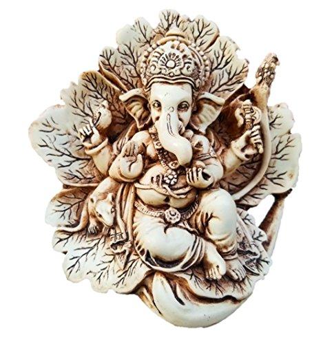 JB Premium 11,4cm Antik Elfenbeinfarben Patta Ganesh Statue mit rustikalem Finish. Einzigartige Lord Ganesha Idol in Einem Blatt Figur. (Antik Elfenbein Rustikale Optik) -