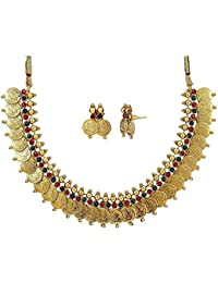 Bhagya Lakshmi Traditional Red And Green Temple Coin Necklace Set With Earrings For Women
