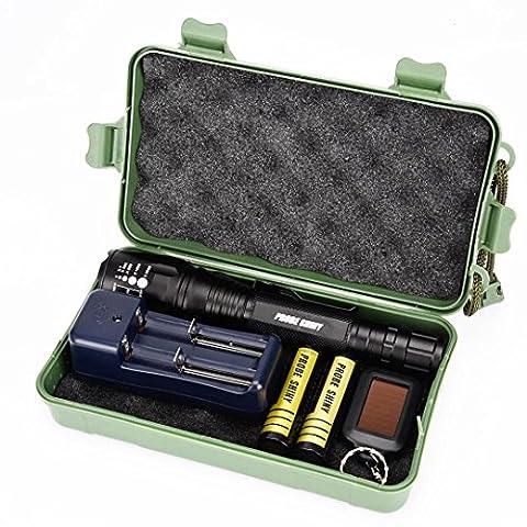 Internet 5000 Lumens Tactical LED CREE XM-L T6 Lampe de poche de police X800 Zoom Super Bright militaire de grade étanche titulaire Torche 5 Modes+batterie 18650(2pcs)+chargeur double+porte-clé+Étui de protection