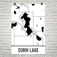 Modern Map Art Carte de lac de Dunn Dunn lac Wisconsin, Dunn lac Wi,