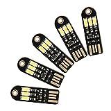 DROK 5pcs Blanc Mini USB Power Touch Mettre Night Light LED 5V 150mA 3 Pocket Card Veilleuse Interface USB d'économie d'énergie Trousseau Accessoires Décoration Camping Cadeau Les Enfants