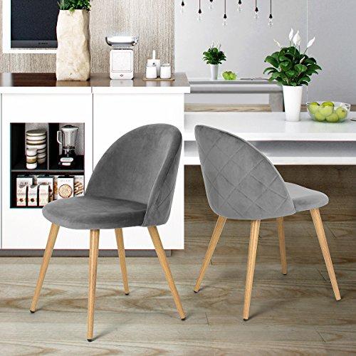 coavas Esszimmerstuhl Samt Weich Kissen Sitz und Rücken mit hölzernen Metallbeine Küche Stühle für ESS - und Wohnzimmer Stühle Set von 2, Grau (Zurück Küche Stuhl)