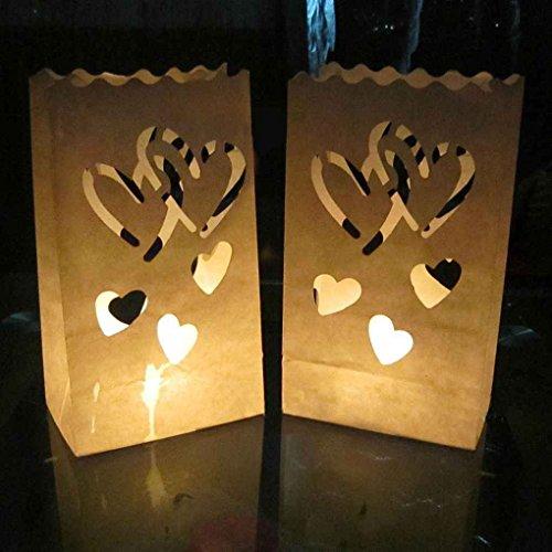mailfoulen Doppel-Herz-Stern Flammenhemmende Papier Kerze Partei Luminary Tasche Feuerbeständige Tasche