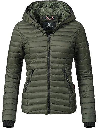 Navahoo Damen Jacke Übergangsjacke Steppjacke Kimuk (vegan hergestellt) Grün Gr. M
