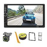 Summdey - Schermo touchscreen capacitivo 7 pollici, 2 DIN, lettore multimediale MP5 per auto con scheda AUX/USB/SD/TF, FM + 12 LED, telecamera posteriore, telecomando sul volante