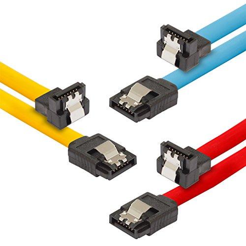 Poppstar 3x 0,5m Sata 3 Kabel, mit Clip Steckern gerade auf 90 Grad gewinkelt, bis zu 6 Gb/s, Farben 1x gelb, 1x rot, 1x blau