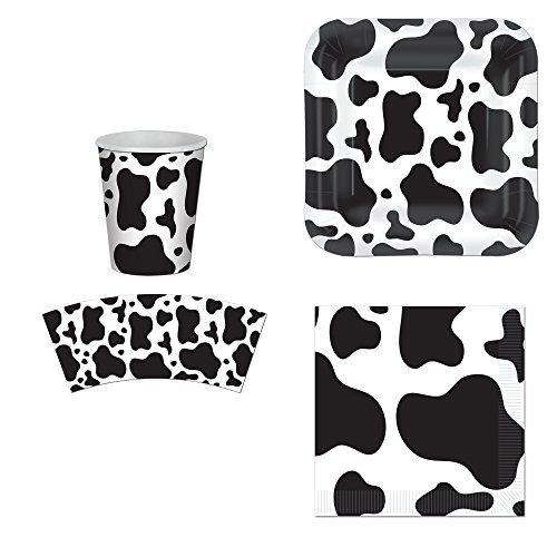 Beistle Kuh-Druck-Party Supplies Set: Teller servietten Cups Kit für 16