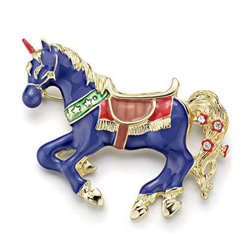 WEDXZ Brosche ExquisiteBlau Emaille Pferd Einhorn Kristall Vintage Tier Broschen Pins TasteFür Frauen Mädchen Modeschmuck