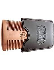 Camden Barbershop Company: Peigne à barbe ultra-léger en bois de poirier avec étui pour le soin quotidien de la barbe & l'application d'huile à barbe / baume pour barbe
