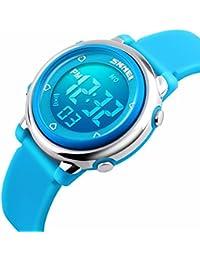 Kids Digital reloj deportivo, niños deportes al aire libre relojes, Girls LED resistente al agua tetera reloj con alarma Cronómetro niños–azul