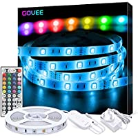 LED Strip Lights, Govee 5 Metre RGB Colour Changing Lighting Strip with Remote and Control Box, Multi-Coloured Mood Lights for Home TV Kitchen DIY Decoration, Bright 5050 LEDs & Easy Installation