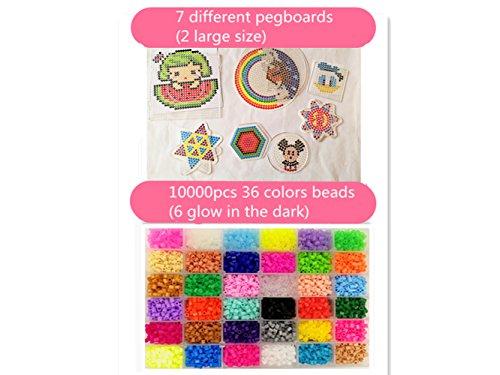 Lote de 10000 abalorios 36 color(6 brillar en oscuridad) de los granos DIY de Perler caja de fusibles conjunto de perlas de 5 mm Hama Beads (7Template + 7Imagine + 6Cart de hierro + 2 pinzas)