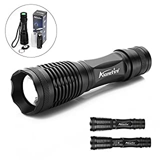 Alonefire Flashlight led Maelstrom Flashlight Tactical Insight Defensive self Defense high Power Best XML T6 Black Pressure Switch 5 Modes Handheld Flashlights for Sports Outdoors Camping