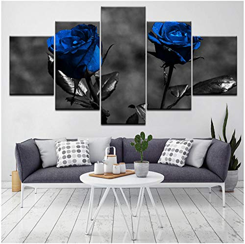Jishii Poster Modular Pictures Canvas 5 Pieces Blue Roses Flowers Paintings Modern Art Decor for Living Room Wall Home Hd Prints-B