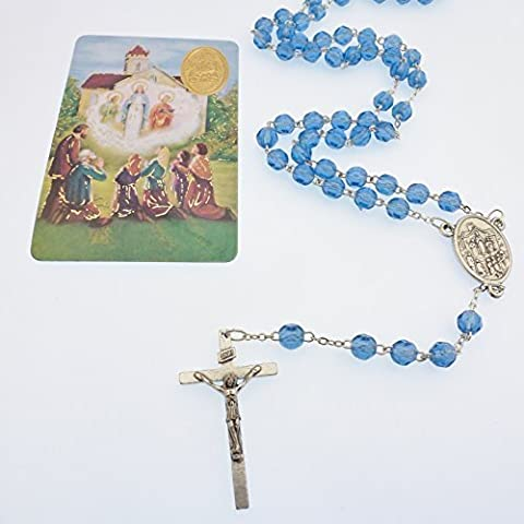 Blue faceted plastic Our Lady of Knock rosary beads with card silver chain