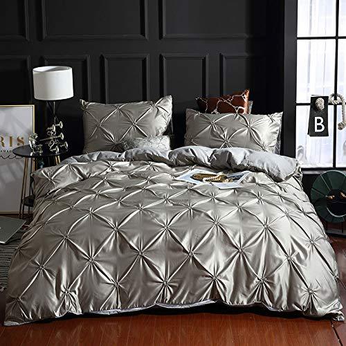Sheetsnorsl 2/3 STÜCKE Faux Silk Damast 3D Geraffte Stickerei Bettwäsche Bettbezug Set Mit Kissenbezug Silver Grey 200x230cm - Geraffte Lila Bettwäsche