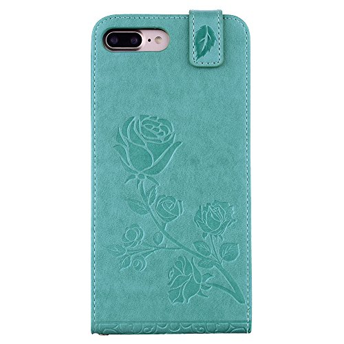 """MOONCASE iPhone 7 Plus Coque, [Embossed Pattern] Card Holster Flip Housse Durable PU Cuir Anti-choc Supports Protection Etui Cases pour iPhone 7 Plus 5.5"""" Violet Vert"""