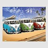 Kunstdruck Poster - Volkswagen VW Bulli Bus Camper Blau Grün Rot Blue Green Red Surf Beach Strand 40 x 50 cm Poster, Bild, Cliprahmen optional, hier ohne Rahmen