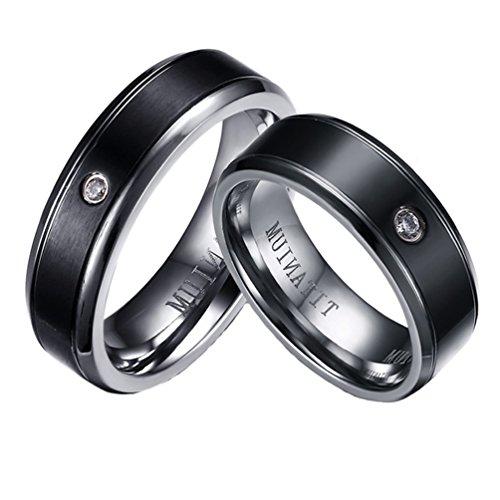 Männlich Versprechen Billig Ringe (PAURO Paar Liebe Edelstahl Schwarz mit Zirkonia Versprechen Hochzeit Lucky Ring Frauen Größe 54)