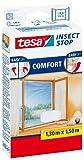 tesa Fliegengitter für Fenster, beste tesa Qualität, weiß, leichter Sichtschutz, 1,3m x 1,5m