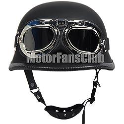 Casco de motocicleta Vintage a cara descubierta con gafas, color negro mate.