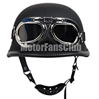 Motorcycle Vintage Open Face Half Helmet with Harley Style Goggles DOT Matte Black,M
