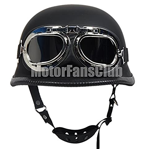 Motorcycle Vintage Open Face Half Helmet with Harley Style Goggles DOT Matte Black,S