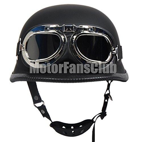 Casco de motocicleta Vintage a cara descubierta con gafas, color negro