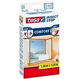 tesa Insect Stop COMFORT Fliegengitter für Fenster / Insektenschutz mit selbstklebendem Klettband in Weiß / 130 cm x 150 cm