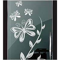 DD Dotzler Design 2111-8 Folie Fenster Milchglas Motiv Schmetterlinge Blumen Milchglasfolie Glas Aufkleber Fensterfolie