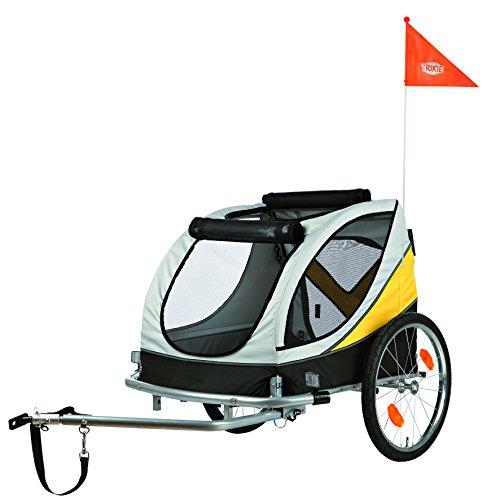 Trixie 12807 Fahrrad-Anhänger, L: 78 × 78 × 86/150 cm, grau/schwarz/gelb