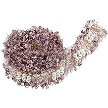 eef1866e595eb Baoblaze Hermoso Encajes para Decorar Vestidos Decorativo Encaje Bordado  con Cuentas de Plástico - Rosa Gris