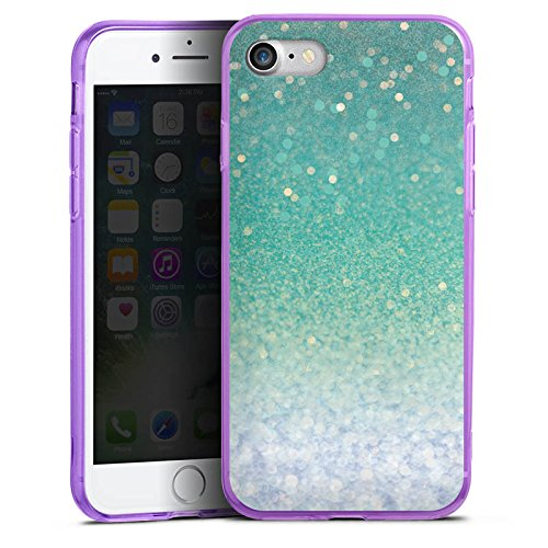 Apple iPhone 7 Silikon Hülle Case Schutzhülle Glitzer Grün Glitter Silikon Colour Case lila