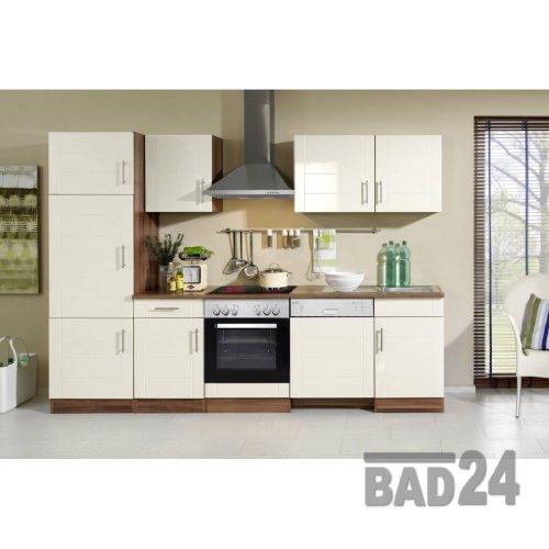 Küchenzeilen 280 Nevasto inkl. E-Geräte, Spülmaschine, Hochglanz creme/Nussbaum